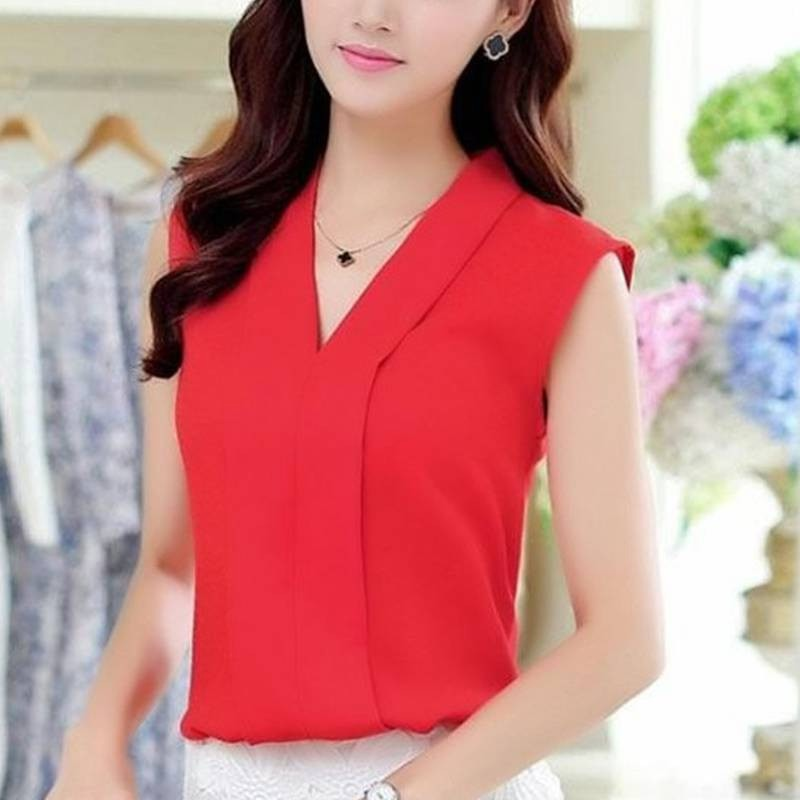 Women   Blouse     Shirts   Fashion Solid Casual Female Sleeveless V-neck   Shirt   Tops Blusas Summer