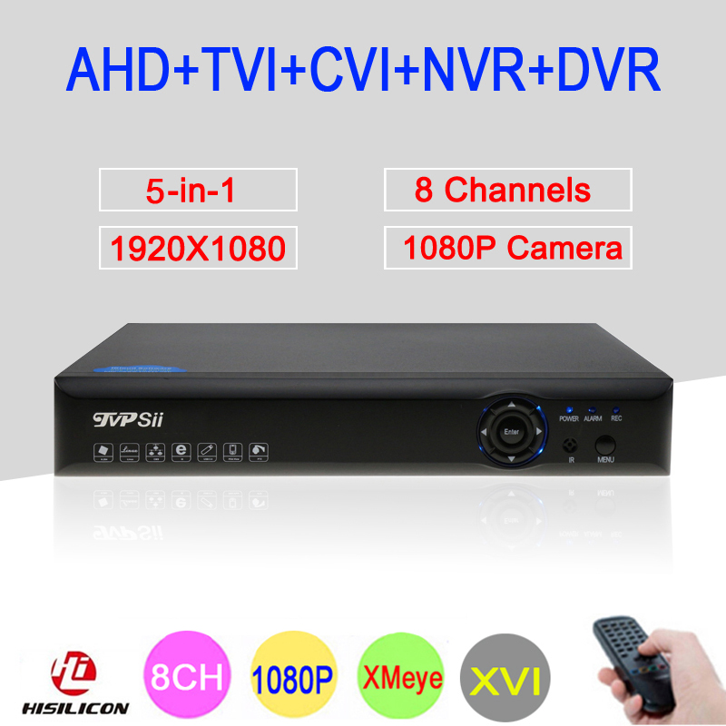 Bleu-ray Xmeye Hi3521A 2MP CCTV Caméra 1080 P Full HD 8 Canaux 8CH 5 en 1 Hybride Coaxial TVI CVI IP NVR AHD DVR Livraison gratuite