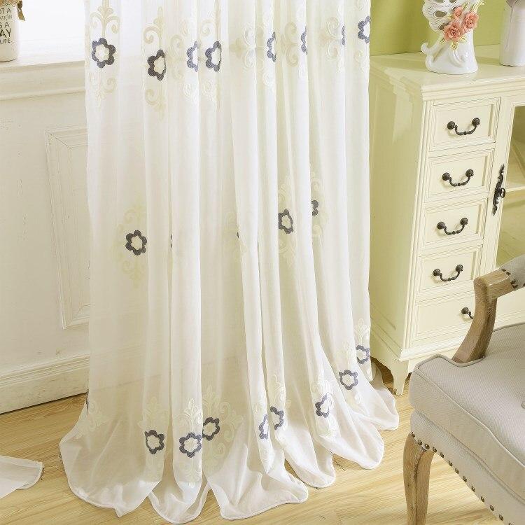 Rideaux en lin pour salon chambre brodé haut de gamme Simple curtiens Tulle personnalisation du produit fini
