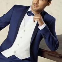 Top Selling New White Blue Black Groom Tuxedos Groomsmen Best Man Suit Men Wedding Suits Three