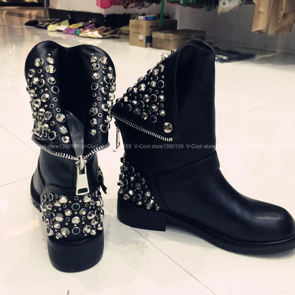 5d946889cab6 2016 Fashion Women Genuine Leather Buckle Boots Shoe Woman Studded Boots  Booties Ladies Autumn Winter Shoes Botas Femininas-in Mid-Calf Boots from  Shoes on ...