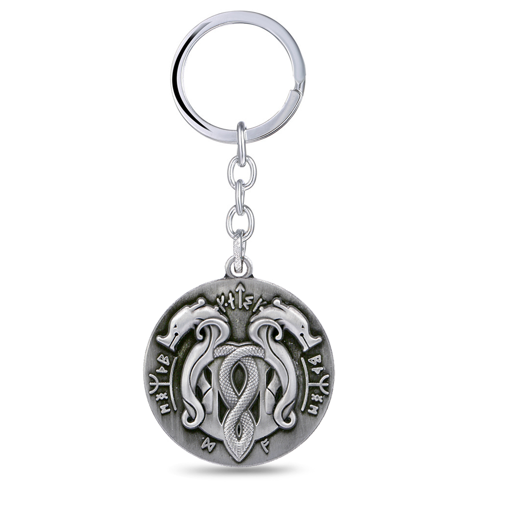 God of War 4 Keychains Metal Snake Logo llaveros Keyring for men game fans souvenir
