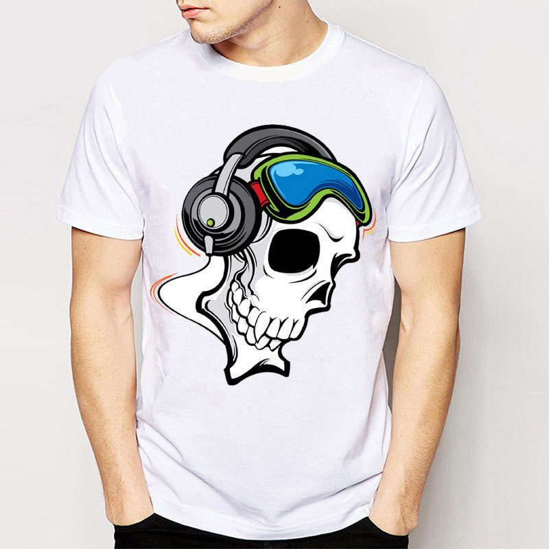 Summer Casual MenS Short Sleeve Dj Skull Print Tee Shirts Cartoon Harajuku T-Shirts Boy Tops Cheap Wholesale Young Man Tee Shi