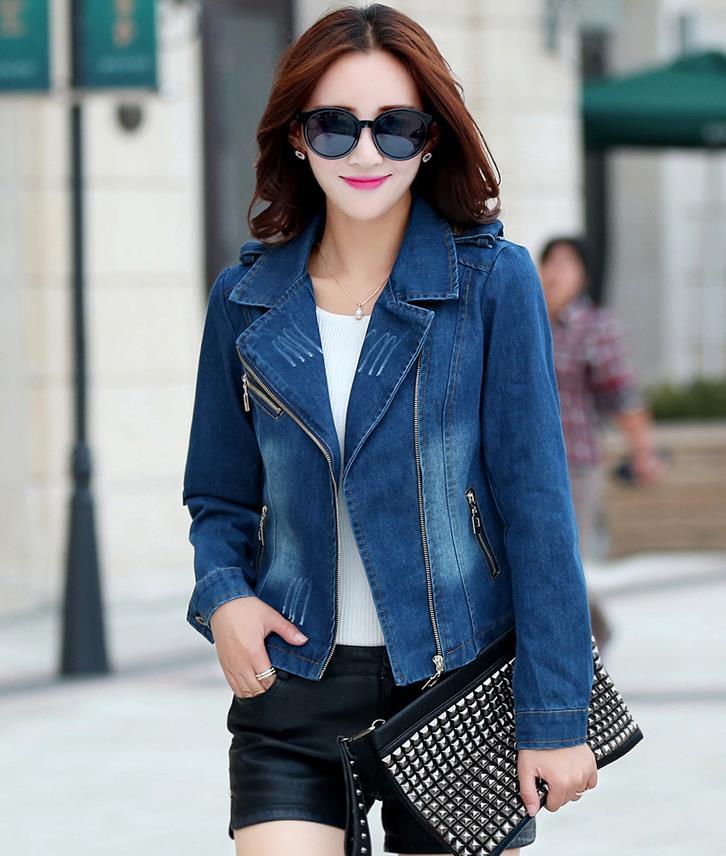 d42474c582d new Women Denim Jacket Plus size zip Jackets Long Sleeve Jeans Cardigan Coat  -in Basic Jackets from Women s Clothing on Aliexpress.com