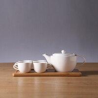 뜨거운 판매 심플한 디자인 세라믹 화이트 커피 차 세트 네 컵 한 냄비 나무 트레이 홈 장식 액세서리 거실