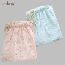 fresh floral printed cotton sleep pants autumn winter loose home pants large size lounge pants pajama bottoms women q472
