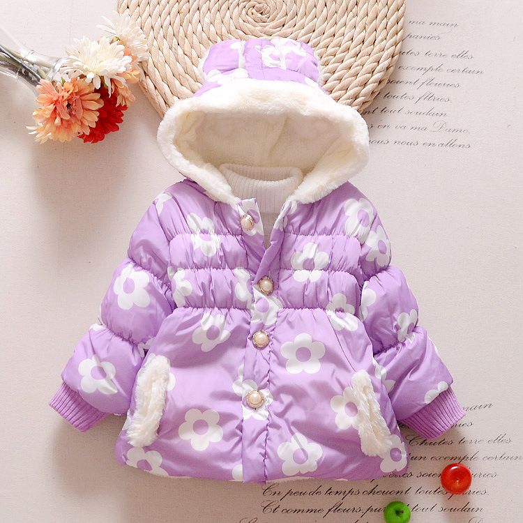 New 2017 Winter Children Fashion Floral Hoodies Jacket & Coat Baby Girls Clothes Kids Toddle Outerwear Warm Coat Age 1-3 years