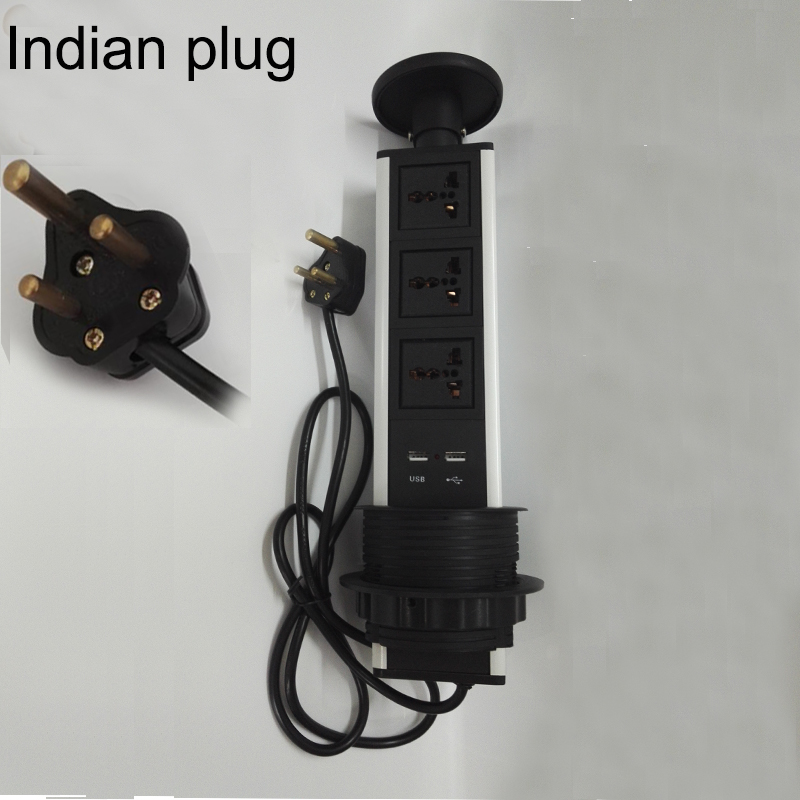 Indian plug universal avpower 3universal power+2charge USB conference furniture desktop tabletop socket Outlet kitchen table