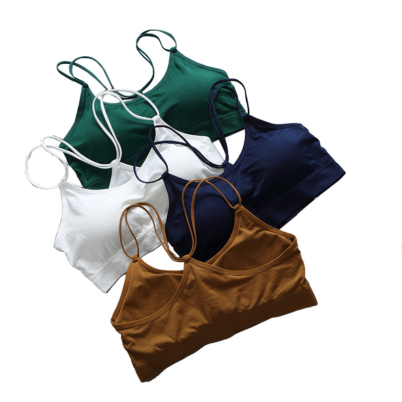 Bralette Crop   Top   Women 2019 Fashion Casual Cotton   Tank     Top   short tshirt Chest Padded Bra Vest Female Cropped   Tops