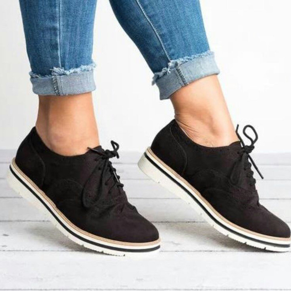 Plus Size 35-43 Women Flat Hollow Platform Shoes Oxfords British Style Ladies Creepers Brogue Shoe For Female Lace Up Footwear 2