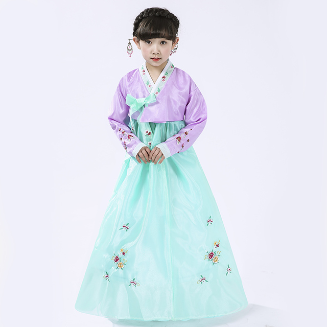 4120458010 High Quality Children Korean Traditional Dress Embroidery Hanbok Costumes  Long Sleeve Ancient National Hanbok Clothing