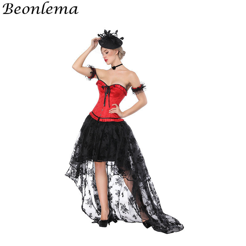 Beonlema Red Overbust   Bustier     Corset   Sexy Black Costumes Lace Mesh   Corsets   and   Bustiers   Long Skirt Women Korset Dress espartilho