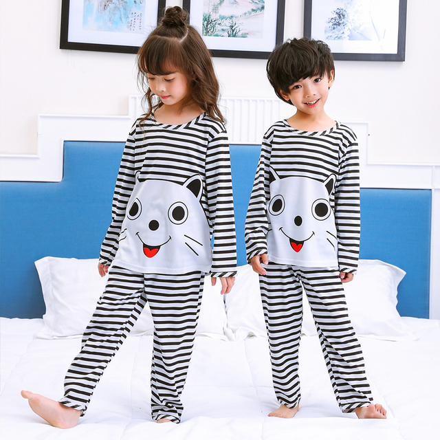 Autumn girls boys pajamas kids long sleeved home clothes sets 3-12Y Pyjamas  cartoon baby sleepwear costume Loungewear Tracksuit fc4c1f113