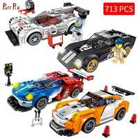City Super Racers Compatible Legoed Speed Champions 2018 Super Car Racing 3D Car Model Building Blocks Bricks Child Kids Toys