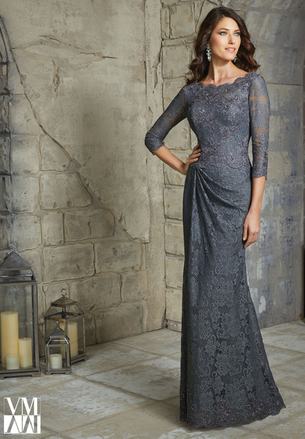 cd812296985 Elegant Dark Grey Lace Mother of the Bride Dresses Plus Size Floor Length 3 4  Sleeve Mermaid Evening Dress For Weddings