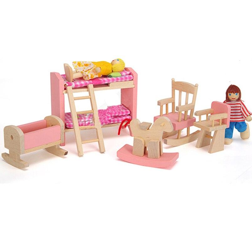 Abbyfrank 1 компл. деревянный Мебель игрушки куклы Ролевые игры Куклы Ванная комната кукольная Миниатюра двухъярусная кровать прекрасные детск...