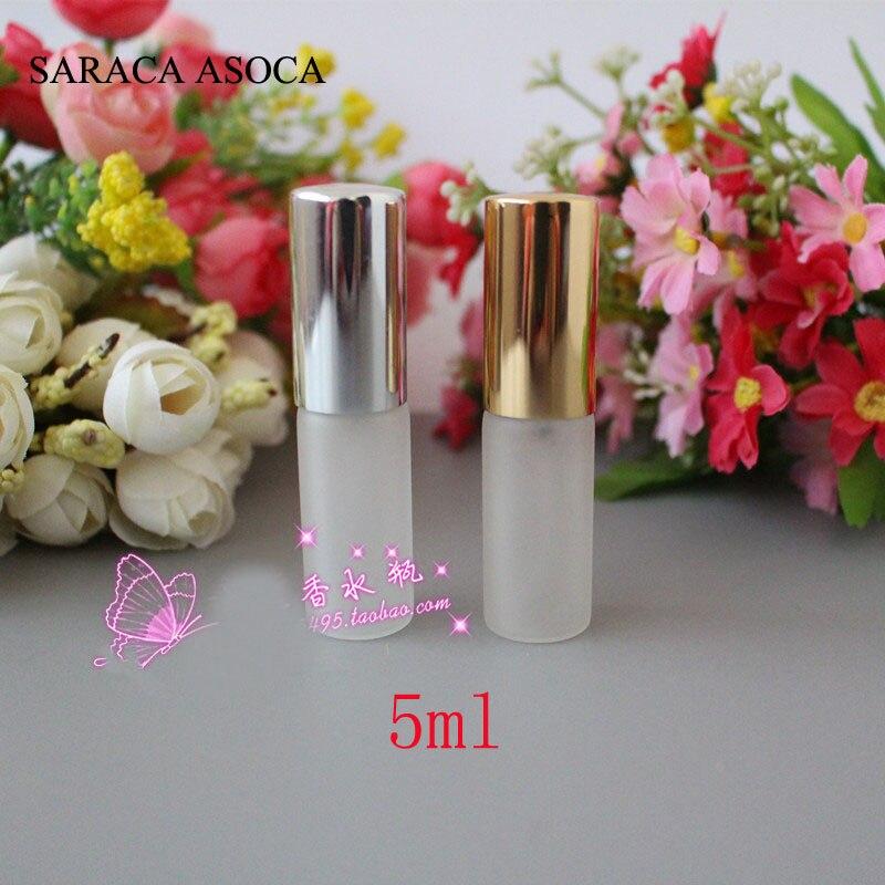Wholesale 5ml cc 100pcs lot Frost Glass Sprayer Spray Perfume Refillable Bottles Aluminum Bottle Caps Sliver