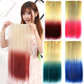 Paidian 26inch 60g 3/4 full head Straight Clip In Hair Extensions Two Tone Ombre Hair Piece Heat Resistance Fiber