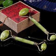 Rouleau de Massage du visage en pierre naturelle, Double tête, Jade, amincissant, pour le cou et la tête
