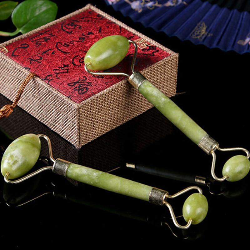 Naturalny kamień wałeczek do masażu twarzy podwójna głowica przyrząd rolujący do masażu twarzy Jade twarzy odchudzanie szyi głowy