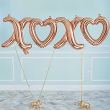 5pcs 105*26cm  XOXO lip Foil Balloons Rose Gold XOXO Love Shaped Air Baloon Wedding Valentines Day Party Supplies Marriage Decor