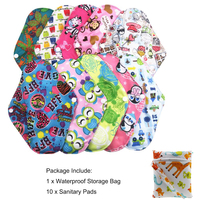 1PC Waterproof storage bag +10PCs Reusable Cloth Sanitary Menstrual Pads Panty Liner Towel Pad For Women Feminine Hygiene Care