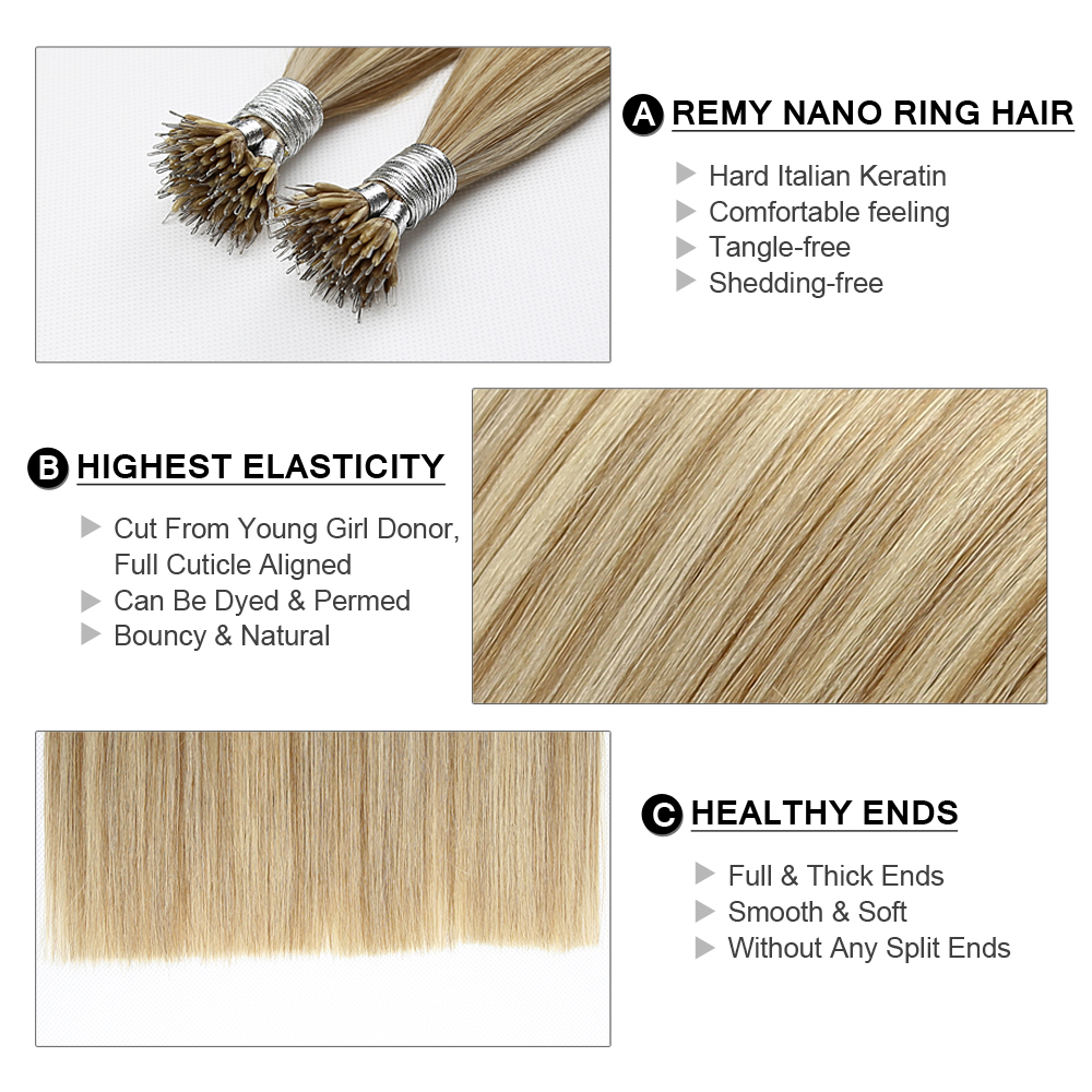 Fairy Remy Hair 0.8g s 100% Real Remy Nano Ring Human Hair Extensions  Double Drawn Micro Beads Ring Hair On Capsule Free DHL 89bb24b2de43