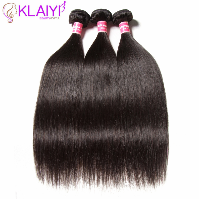 Klaiyi Hair Peruvian Straight Hair Bundles Natural Color Human Hair 3 - Menneskelig hår (for svart)
