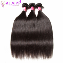 Klaiyi Hair Peruvian Straight Hair Bundles Natural Color Human Hair 3 stk Remy Hair Weave Bundles 8-30 inch Extensions