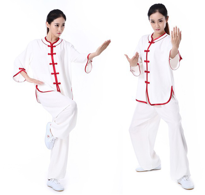 Summer Ladies Low Collar Half Sleeves Cotton And Linen Tai Chi Suits Womens Kung Fu Uniforms Morning Exercise Wear