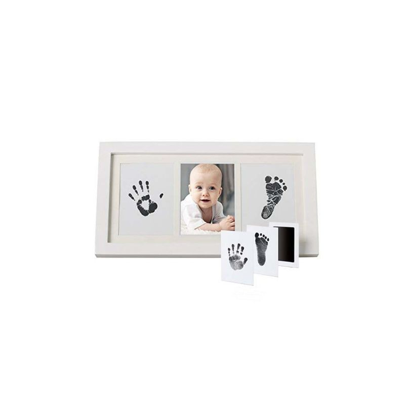 Baby Creative DIY Hand Foot Print Pictures Display Wood Photo Frame Souvenirs Commemorate Newborn Gift