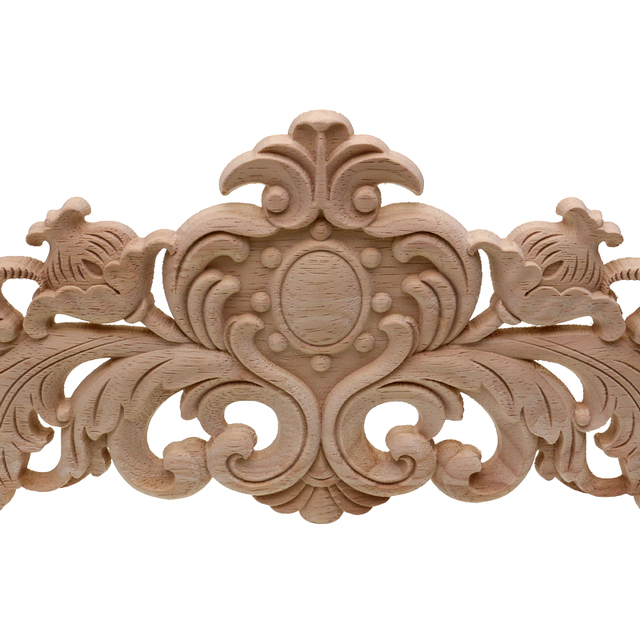 RUNBAZEF European Style Real Wood Long Floral Carving Applique Home Decoration Accessories Door Cabinet Furniture Figurines 4