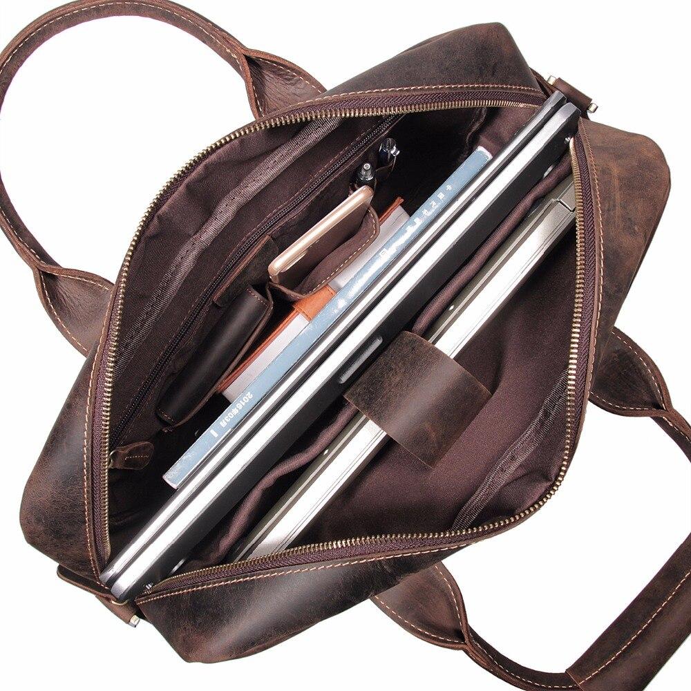 J.M.D High Quality Vintage Crazy Horse Leather Briefcase Portfolio Laptop Bag 7382R