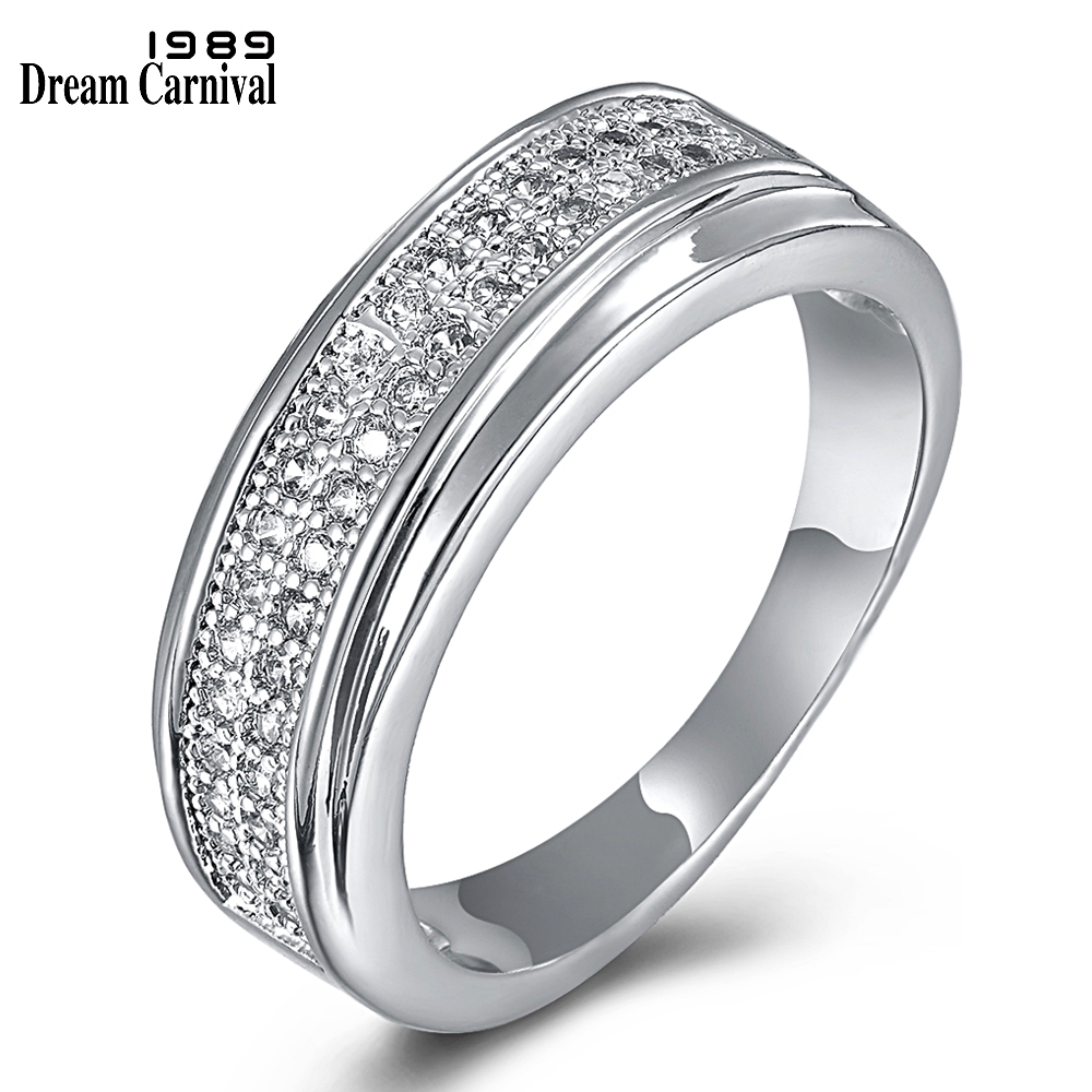 DreamCarnival 1989 Women Wedding Band Rings 2 Tones Rose Gold Color CZ Engagement Jewelry Stackable Anillos Mujer Anel YR6421