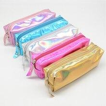 Blingird 1pcs Iridescent Laser Simple Jelly Color Pencil Case Bags