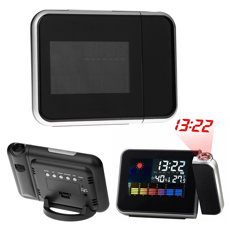 Numérique LCD De Projection Horloge De Bureau Temps Multi Fonction Réveil Couleur Écran Calendrier Accueil Bureau et Horloges de Table