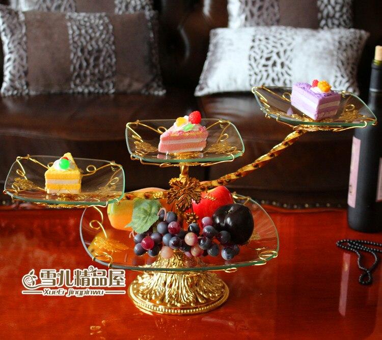 The new European high grade four layers of glass cake fruit wedding birthday cake tray Hotel KTV home decoration
