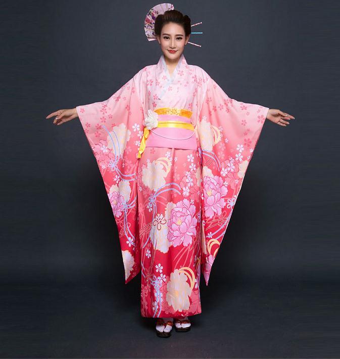 Top qualité rose japonais femmes nouveauté robe de soirée Kimono Vintage Yukata avec Obi Cosplay Costume fleur taille unique NK002