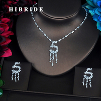 HIBRIDE Newest Punk Style Number 5 Design Pendientes Cubic Zirconia Jewelry Sets Women Wedding Bride Jewelry Accessories N 354