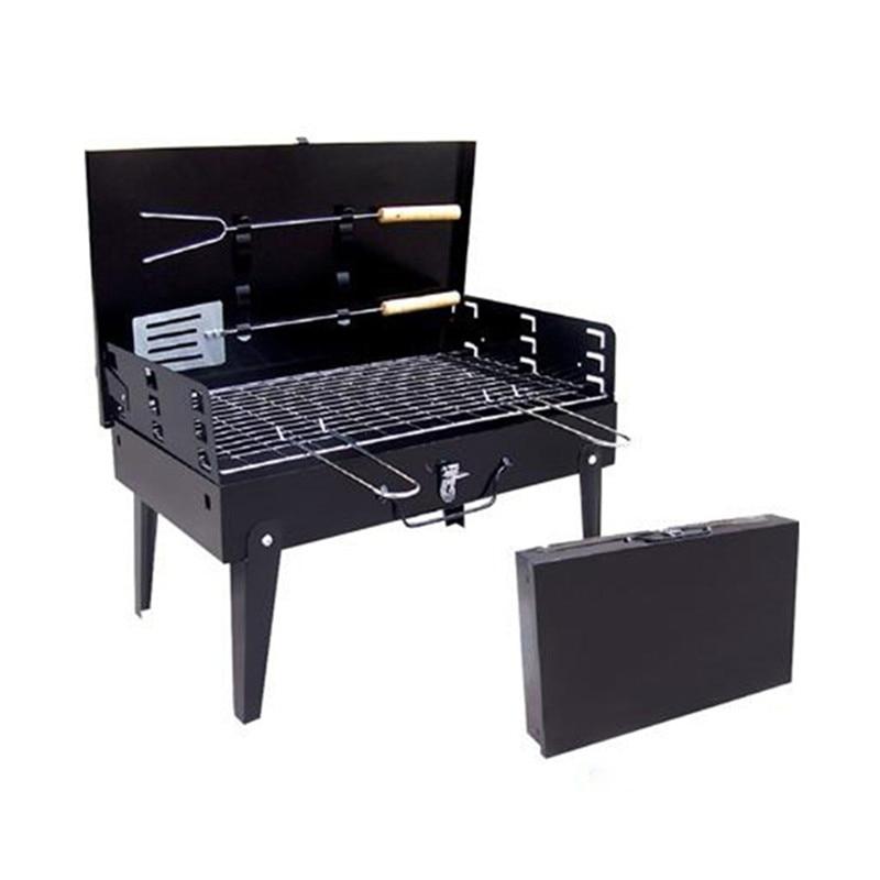 Nouveau Portable pliable en plein air Barbecue Grill maille Barbecue valise poêles en plein air