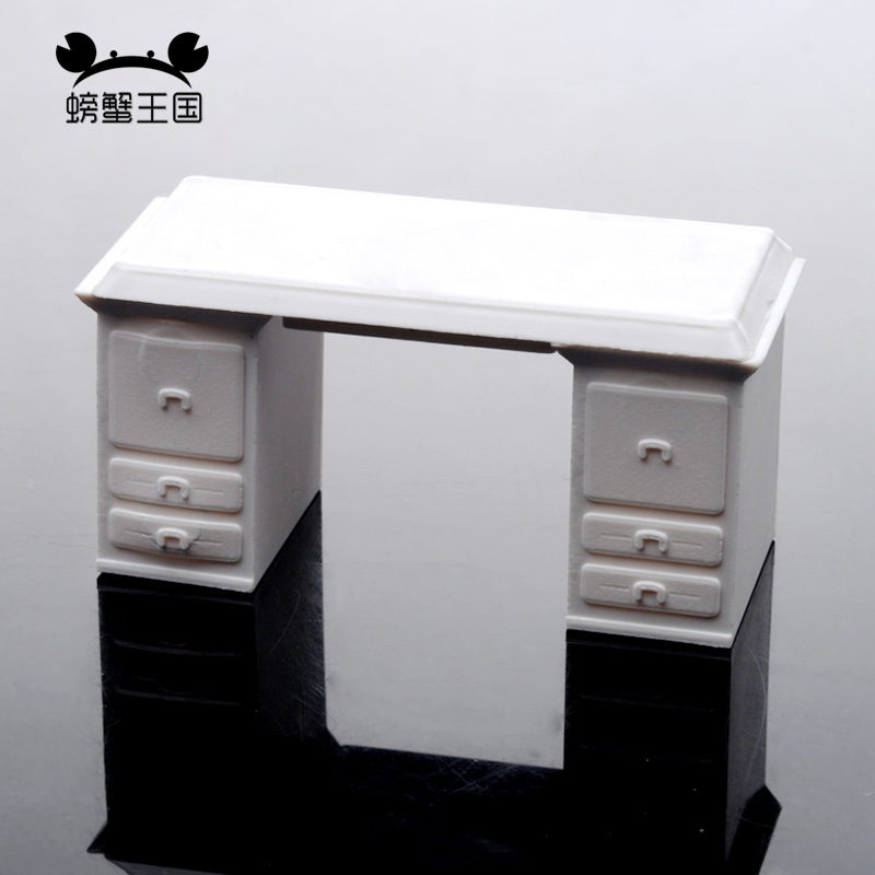 5pcs 1:25 1:30 1:50 Dollhouse Miniature Furniture Plastic White Office Table Model Desk Interior Accessories Office Desk