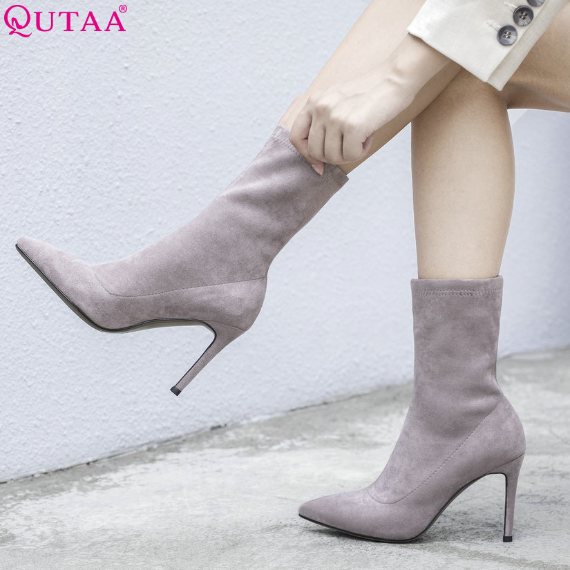 QUTAA 2020 Woman Mid Calf Boots Winter Boots Thin High Heel Knitting+Leather Sock Boots Ladies Motorcycle Boots Size 34-39QUTAA 2020 Woman Mid Calf Boots Winter Boots Thin High Heel Knitting+Leather Sock Boots Ladies Motorcycle Boots Size 34-39