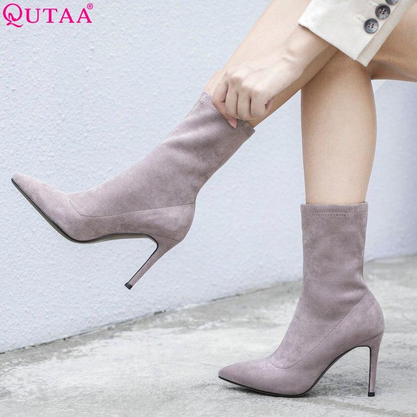 QUTAA 2020 امرأة منتصف العجل أحذية الشتاء الأحذية رقيقة عالية الكعب الحياكة + جلد جورب أحذية السيدات دراجة نارية الأحذية حجم 34 39-في أحذية منتصف ربلة الساق من أحذية على  مجموعة 1