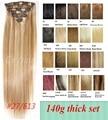 "2015 hot Brazilian remy Clip en el pelo humano Real extensiones del pelo 18 "" - 32 "" 140 g / 7 unids/set # 613 conjunto gruesa 28 colores disponibles"