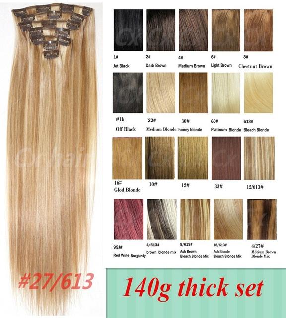 """2015 remy brasileiro grampo em extensões do cabelo humano Real cabelo 18 """" - 32 """" 140 g / 7 pçs/set 27/613 conjunto de 28 cores"""
