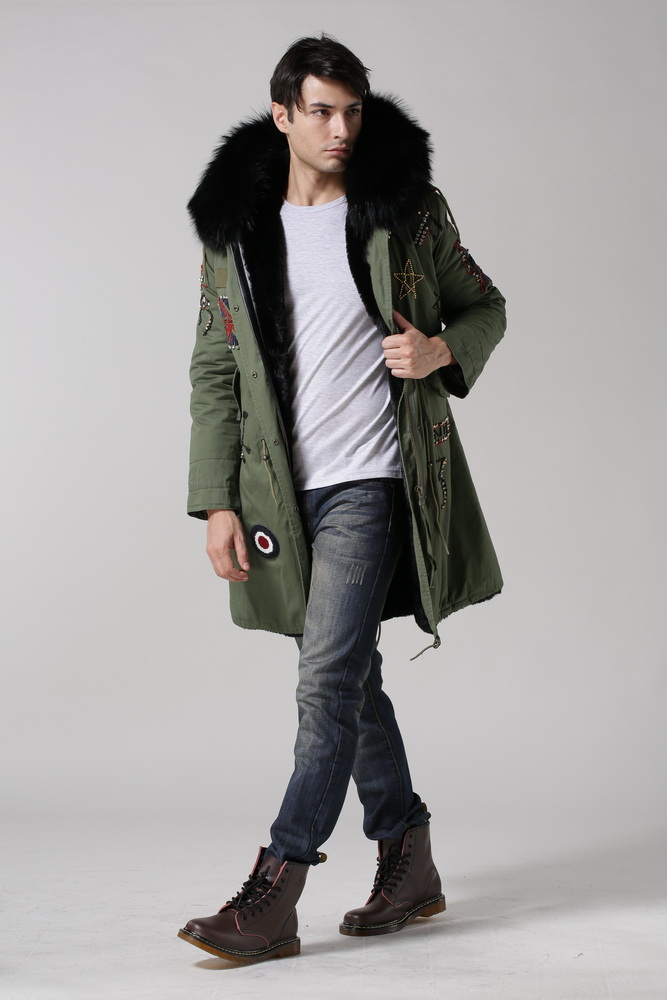 HOT men's winter fur coats retail & wholesale black fur lined beading new  style, accept - Compare Prices On Faux Fur Lined Parka Men- Online Shopping/Buy