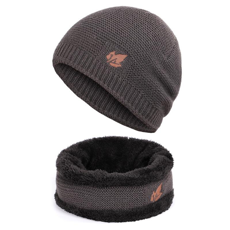 Зимние мужские вязаные шапки, шарф, уличные теплые бархатные унисекс новые модные трендовые брендовые шапки кленовый лист, кожаный Стандартный комплект для мужчин - Цвет: Gray A