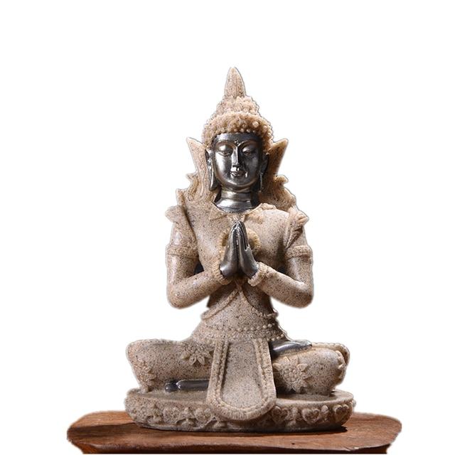 VILEAD 16 Style Buddha Statue Nature Sandstone Thailand Buddha Sculpture Hindu Fengshui Figurine Meditation Miniature Home Decor 6