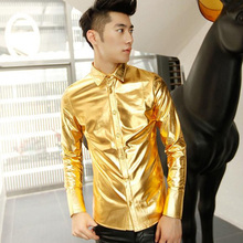 2017  Dj men's clothing slim faux leather shirt costumes costume gold coating long-sleeve shir The singer's clothing