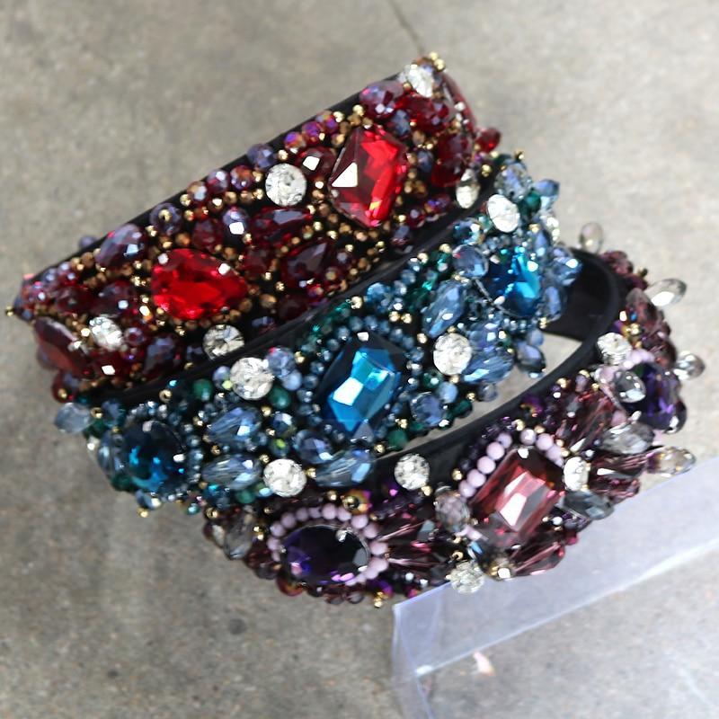 Bride Tiaras Baroque Crown Blue Rhinestone Weaving Beads Head Hoop Crystal  Wide Headbands For Women Party Wedding Hair Jewelry